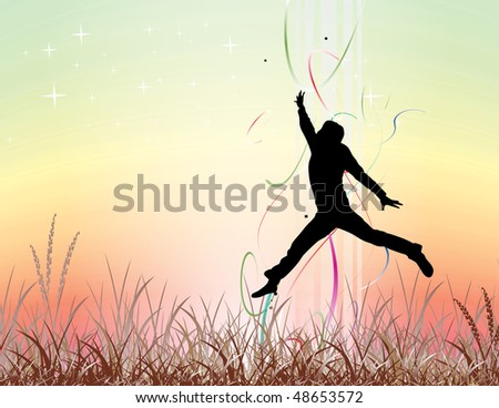 silhouette of young man jumping on the field, All elements are individual objects and no mesh and no flattened transparencies. - stock vector