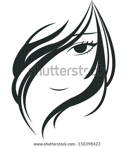 silhouette of young woman face  - stock vector