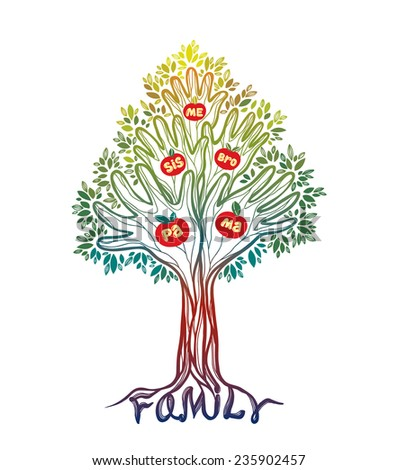 Silhouette off abstract green hand tree. Concept illustration- family tree. - stock vector