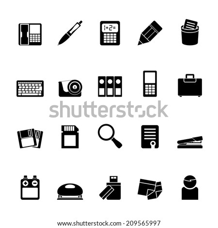 Silhouette Office tools Icons - vector icon set 3 - stock vector