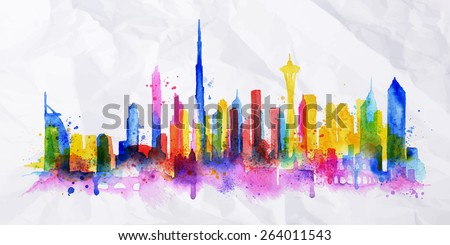 Silhouette overlay city painted with splashes of watercolor drops streaks landmarks in blue with pink - stock vector