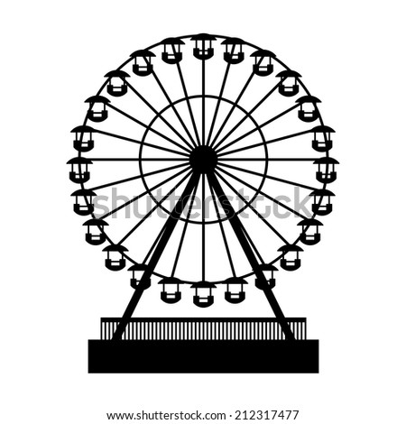 Silhouette Park Atraktsion Ferris Wheel. Vector illustration - stock vector