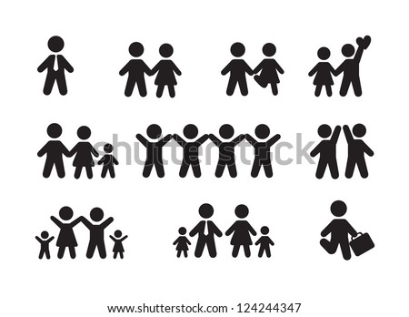 Silhouette people icons over white background vector illustration - stock vector