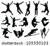 silhouette people jumping-vector - stock vector