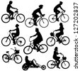 silhouette people on bikes - stock vector