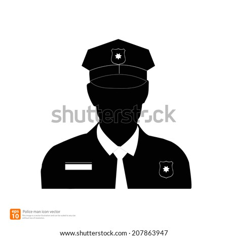 Silhouette  police man avatar profile pictures  - stock vector