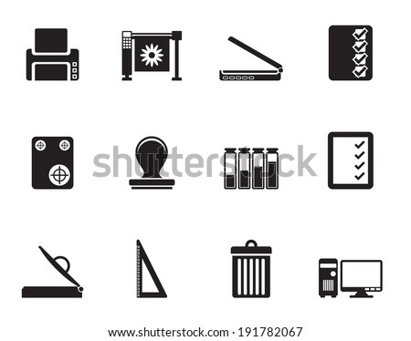 Silhouette Print industry Icons - Vector icon set - stock vector