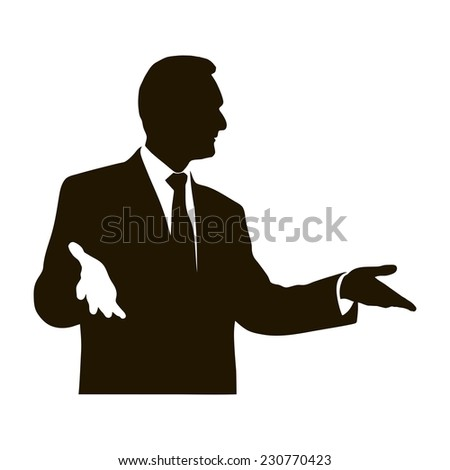 Silhouette protruding speaker with wide beautiful hand gestures. Bolsun. Rhetoric. Oratory, lecturer, business seminar. Vector. Icon. - stock vector
