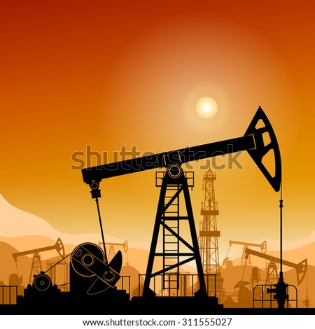 Silhouette  Pump Jack or Oil Pump on a Background of Mountains  at Sunset, Petroleum Industry , in the Background Working Oil Pumps and Drilling Rig,  Vector Illustration - stock vector