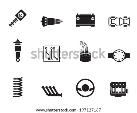 Silhouette Realistic Car Parts and Services icons - Vector Icon  - stock vector