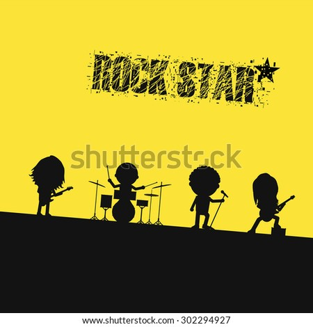 silhouette rock band on stage - stock vector