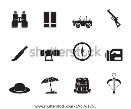 Silhouette safari, hunting and holiday icons - vector icon set - stock vector