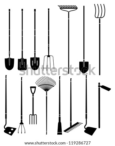 Pitchfork stock photos images pictures shutterstock for Gardening tools vector