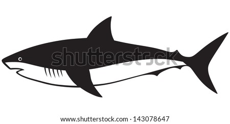 Silhouette shark isolated on white background - stock vector