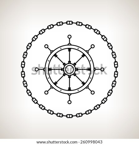 Silhouette ship's wheel , contour of the ship's wheel in the circle of the chain on a light background,  black and white  vector illustration - stock vector