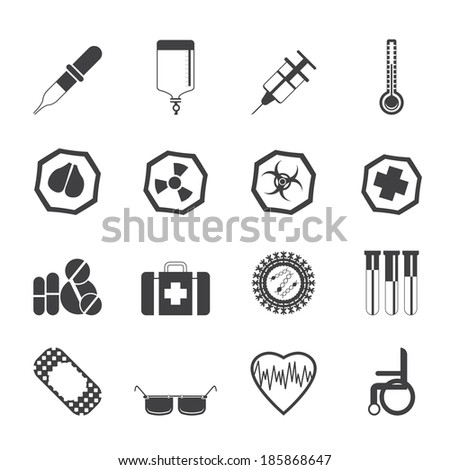 Silhouette Simple  medical themed icons and warning-signs - vector Icon Set - stock vector