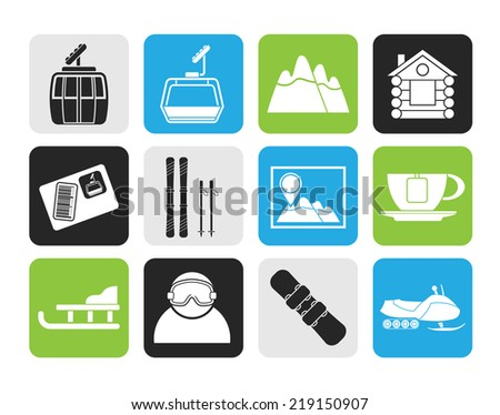 Silhouette Ski Track and sport icons - vector icon set - stock vector
