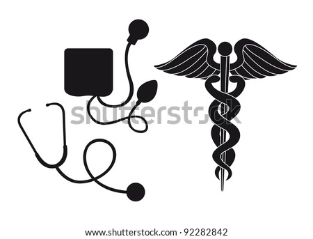 silhouette sphygmomanometer, stethoscope and medical sign vector illustration - stock vector