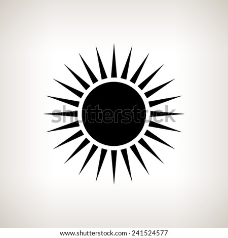 Silhouette sun with rays on a light background , black and white  vector illustration - stock vector