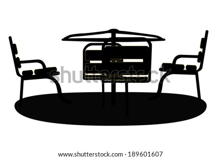 Silhouette Swing Black on White Background. Vector Illustration. - stock vector