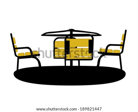 Silhouette Swing Black on White Background. Vector Illustration - stock vector