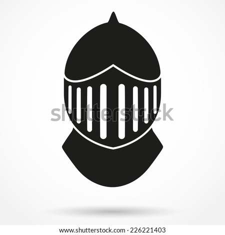 Silhouette symbol of Crusader Metallic Knight's Helmet. Retro style. Vector Background - stock vector