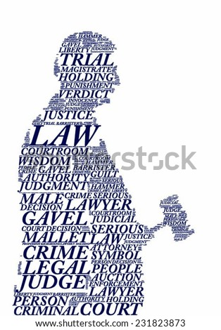 silhouette tagcloud vector image - concept of a judge - stock vector