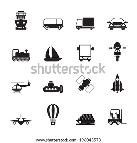Silhouette Transportation, travel and shipment icons - vector icon set - stock vector