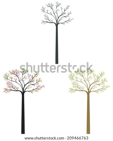 Silhouette tree icons in different season set, create by vector - stock vector
