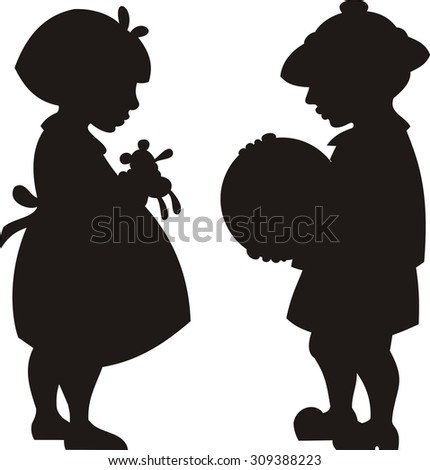 Silhouette vector illustration of a boy and girl - stock vector