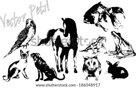Silhouette Vector Illustration of Pet Animals - stock vector