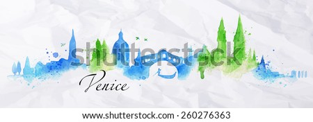 Silhouette Venice city painted with splashes of watercolor drops streaks landmarks with a blue-green colors - stock vector