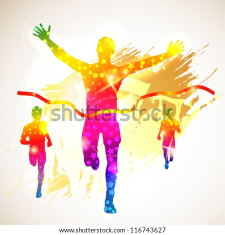 Silhouette Winner Man and Fans on Grunge Background, illustration for design - stock vector