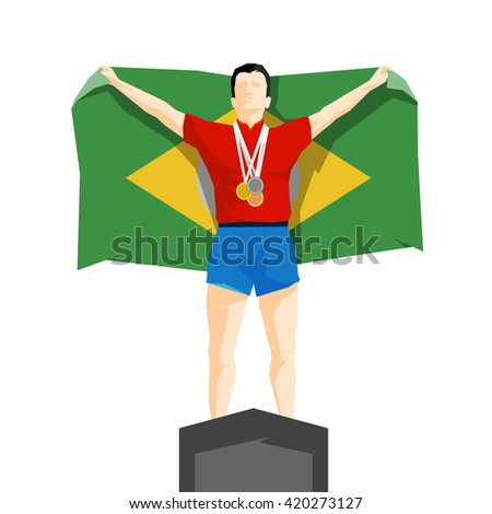 Silhouette winner on the podium with flag Brazil - stock vector
