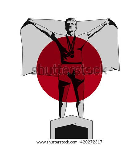 Silhouette winner on the podium with flag Japan - stock vector