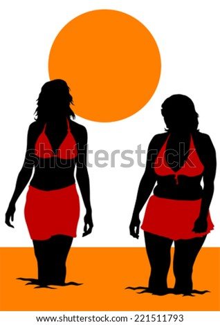 Silhouette young girls on beach - stock vector