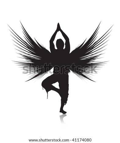 silhouette young man doing yoga exercise with white background ,vector illustration - stock vector