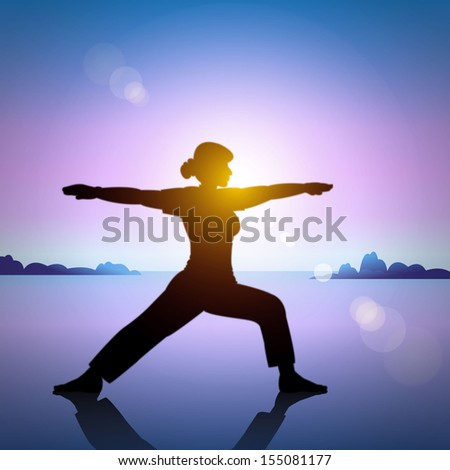 Silhouette young woman practicing yoga on the beach at sunset. - stock vector