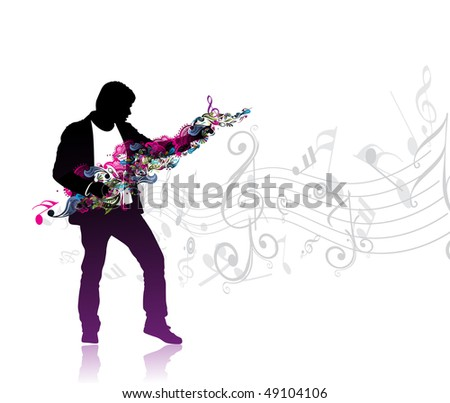 silhouetted a man enjoy music in music note wave background, vector illustration - stock vector