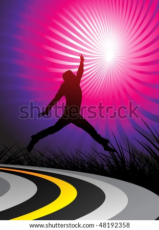 silhouetted a young happy men, jumping on the road and, vector illustration - stock vector