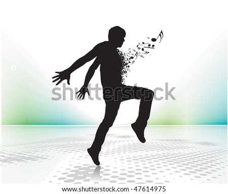 silhouetted a young man enjoy music with music note , vector illustration, No mesh in this Vector - stock vector