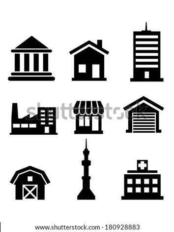 Silhouetted buildings and architectural icons logo depicting church, temple, hospital, tower, shop, market, office, factory, house and farm - stock vector