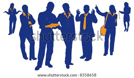 Silhouettes and detail of People in business. Business teams and professionals. - stock vector