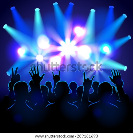 Silhouettes and lights on musical concert vector background - stock vector