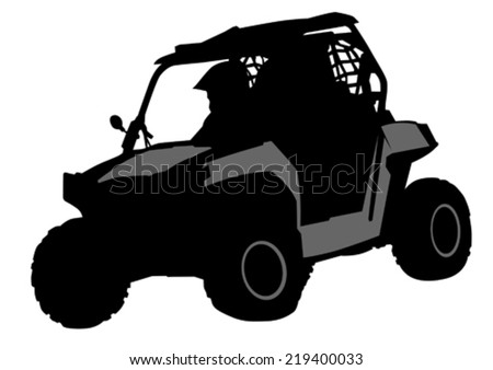 Silhouettes athletes ATV during races - stock vector
