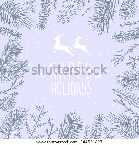 Silhouettes beautiful branch tree fir, pine. Vector illustration. Holiday winter card - stock vector