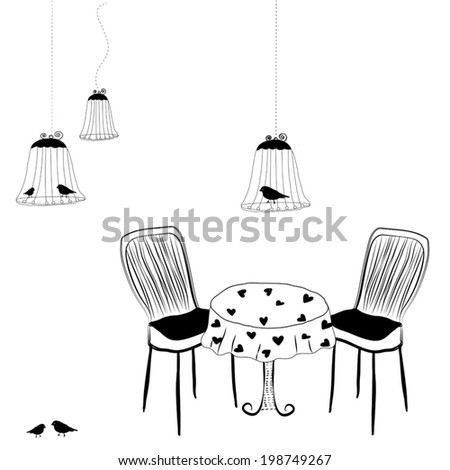 silhouettes birdcage with table and chairs. vector - stock vector