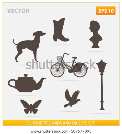 silhouettes birds and objects vector set isolated - stock vector