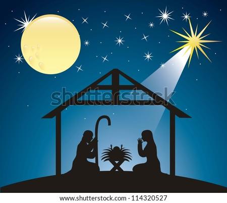 silhouettes christmas nativity scene. vector illustration - stock ...