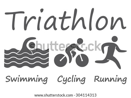 Silhouettes figures triathlon athletes. Swimming, cycling and running vector symbols. - stock vector